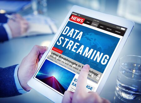 streaming: Data Streaming Transfer Connection Technology Networking Concept