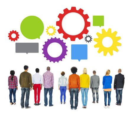 facing backwards: Multiethnic Diverse People Facing Backwards with Business Infographic Stock Photo
