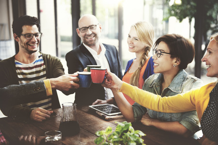 people work: People Meeting Friendship Togetherness Coffee Shop Concept Stock Photo