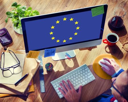 Europäische Union Land Flagge Nationalität Kultur Freiheit Konzept Standard-Bild