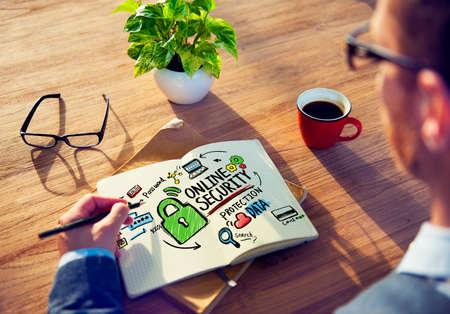 secret place: Online Security Protection Internet Safety Businessman Writing Concept