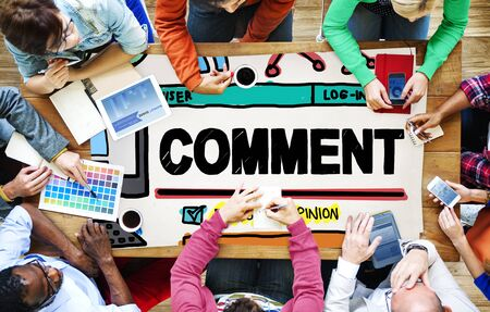 Comment Post Share Social Media Concept Stock Photo