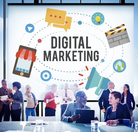 Business people with digital marketing concept