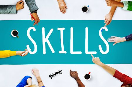 people skills: Skill Ability Qualification Performance Talent Concept Stock Photo