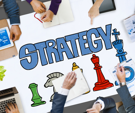 business meeting: Strategy Chess Game Graphic Business Meeting Concept