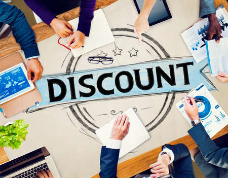discount banner: Diverse People Discount Badge Banner Concept Stock Photo