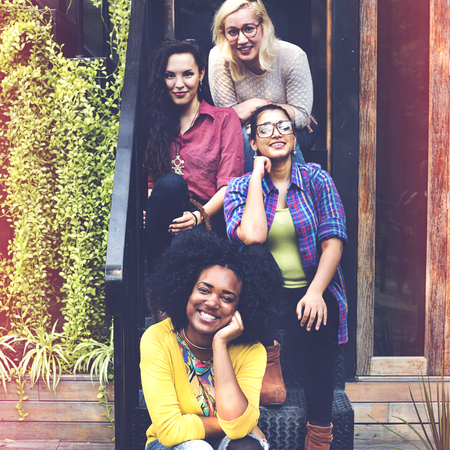 Vrouwen Vriendschap Geluk Saamhorigheid Teamwerk Concept Stockfoto