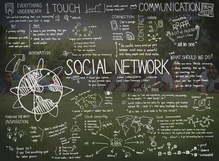 Redes sociales en línea de Internet Sharing búsqueda de concepto