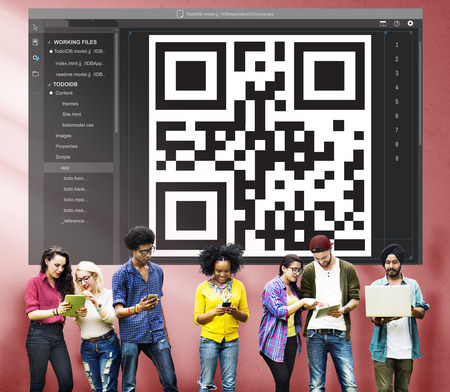 quick response code: QR Code Encryption Interface Coding Concept