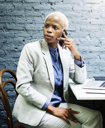 determine: Businesswoman Concentrate Data Determine Device Concept