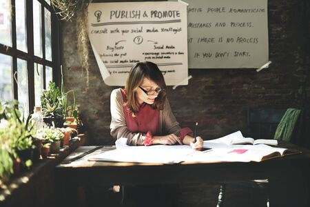 determine: Architecture Woman Working Blue Print Workspace Concept