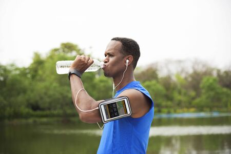 sportman: Exercise Athlete Playlist Gadget Smartphone Sporty Concept