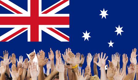 raise the white flag: Australia Flag Country Nationality Liberty Concept Stock Photo