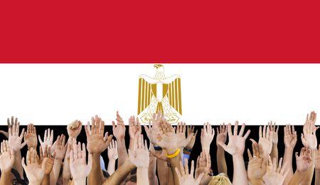 raise the white flag: Egypt Flag Country Nationality Liberty Concept Stock Photo