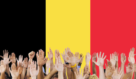raise the white flag: Belgium Flag Country Nationality Liberty Concept