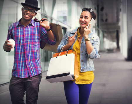 Shopping Couple Capitalism Enjoying Romance Spending Concept Imagens