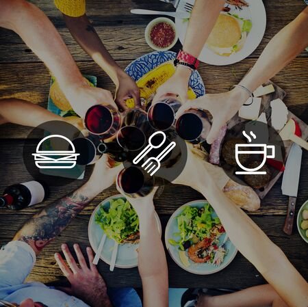 outdoor dining: Meal Lunch Breakfast Fastfood Hamburger Concept Stock Photo