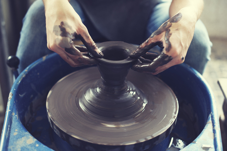 handcraft: Person Creation Pottery Handcraft Art Mud Concept