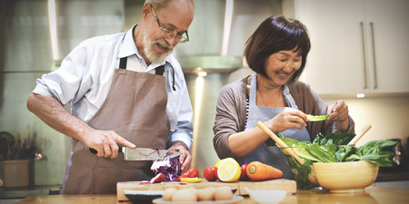부엌 식품 공생 개념을 요리 가족