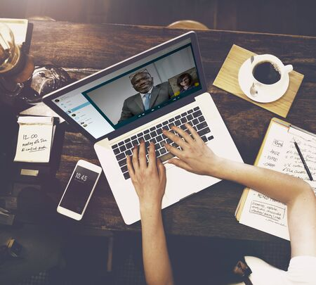 video call: Video Call Conference Chatting Communication Concept Stock Photo