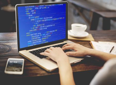 PHP는 프로그래밍 HTML은 사이버 스페이스 개념을 코딩 스톡 콘텐츠