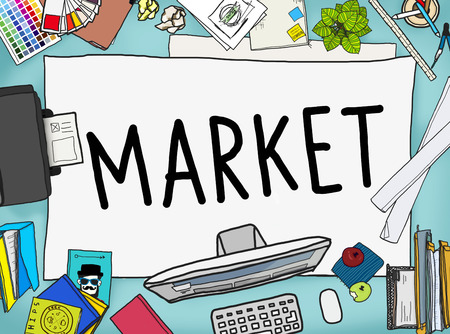 printer drawing: Market Consumer Product Buyer Marketing Concept Stock Photo