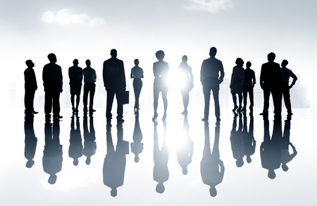 Group Business People Silhoutte Looking Up Vision Concept Banco de Imagens