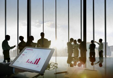 Business People Silhouette Working Statistics Development Concept