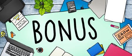 salarios: Bono Ingresos Beneficio de Incentivo Beneficio Concepto Foto de archivo