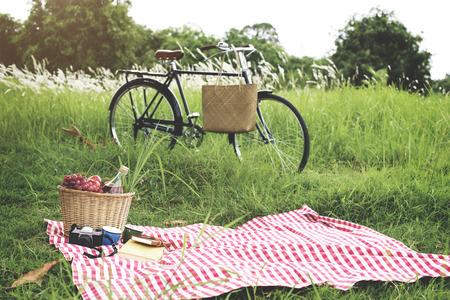 Picknick-Korb Handtasche Urlaub Freizeit Lifestyle-Konzept Standard-Bild - 52370520