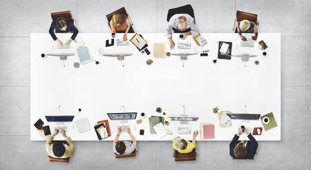 empleado de oficina: Concepto de la tecnología digital de conexión de negocios Reunión del Equipo Foto de archivo