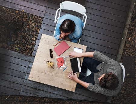 interior designer: Conversation Ideas Interior Designer Meeting Teamwork Concept Stock Photo