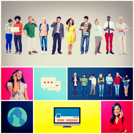 downloading content: Community Communication Networking Technology Content Concept Stock Photo