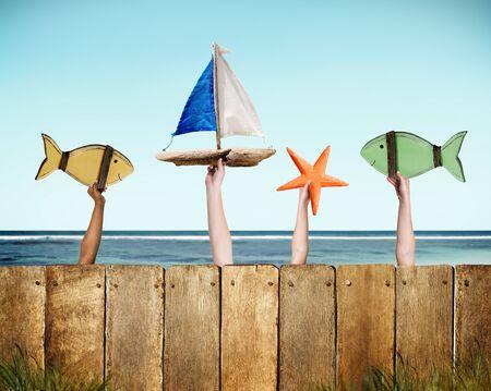 buoy: Fish Sailboat Starfish Coconut Buoy Sea Ocean Concept Stock Photo