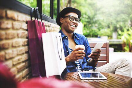 Shopping Men Man Happiness Consumer  Commerce Concept 版權商用圖片