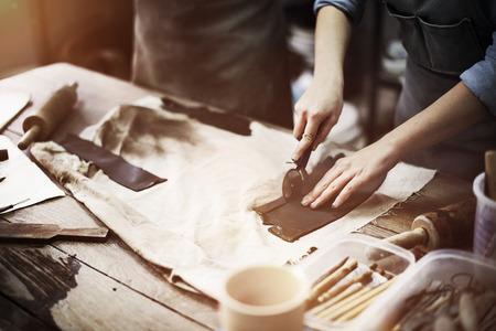職人アーティスト陶器技術ワーク ショップ コンセプト 写真素材