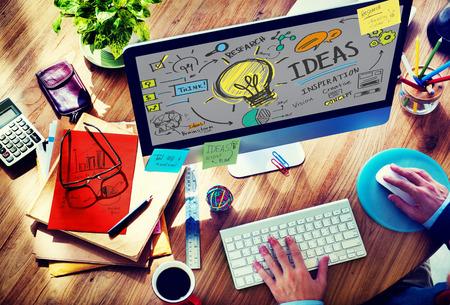 Pomysły Innovation Kreatywność Znajomość Inspiracja Vision Concept