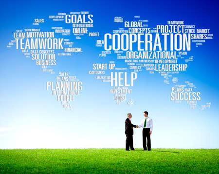 trabajo en equipo: Coorperation de trabajo Ejecutivo Planificar Trabajo en equipo Concepto Foto de archivo