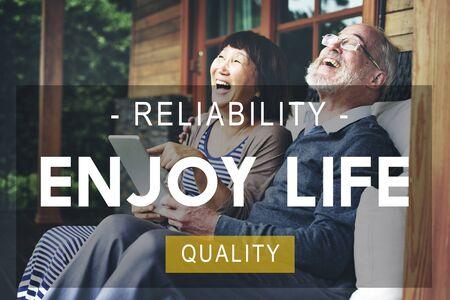 quality of life: Enjoy Life Reliability Quality Peace Living Concept Stock Photo