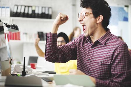Mensen Succes Viering Working succesvolle concept Stockfoto