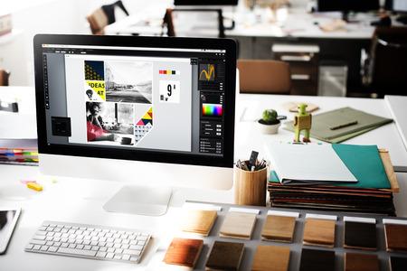 Design Studio Kreativitet Wood Palette dekoration Concept Stockfoto
