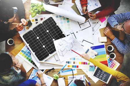 meeting people: La gente Reuni�n equipo del concepto Blueprint Ingeniero Arquitecto