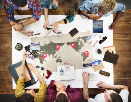 비즈니스 여행 회의 토론 팀 개념 스톡 콘텐츠