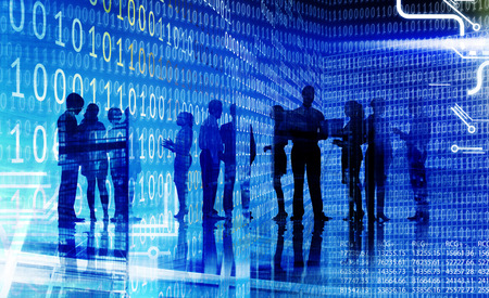 data matrix: Business People Corporate White Collar Worker City Concept