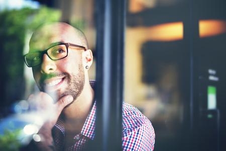 Man Positive Thinking Inspiration Idées Esprit Concept Banque d'images