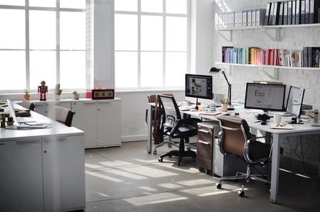 Arbeitsplatz Stationäre Moderne Organisationskonzept Standard-Bild