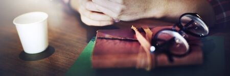 zoomed in: Closeup Woman Hands Notebook Journal Concept