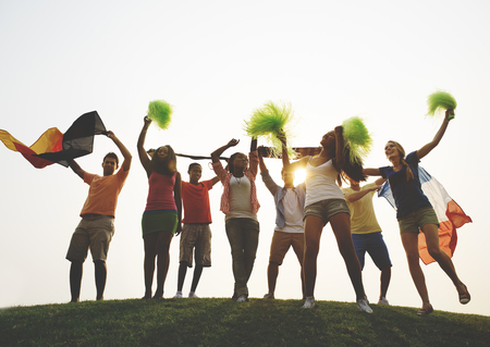 german ethnicity: Group Casual People Cheering Outdoors Concept Stock Photo