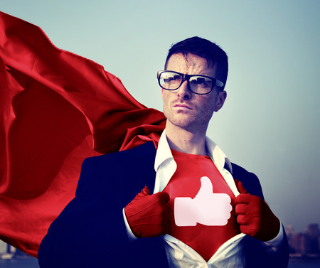 Like Share Facebook Hero Appreciate Superman Red Cape Presenter Concept Stok Fotoğraf - 52840601