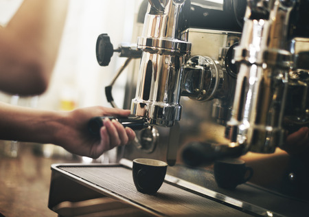 making coffee: Barista Cafe Making Coffee Preparation Service Concept